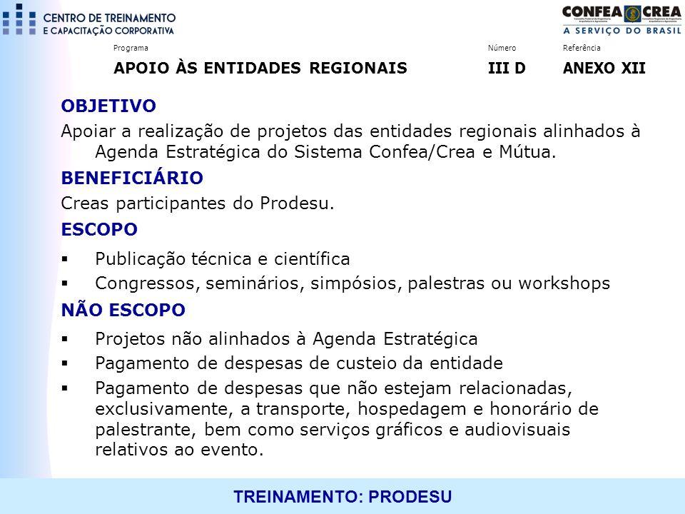 Creas participantes do Prodesu. ESCOPO Publicação técnica e científica