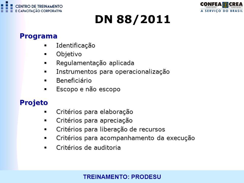 DN 88/2011 Programa Projeto Identificação Objetivo