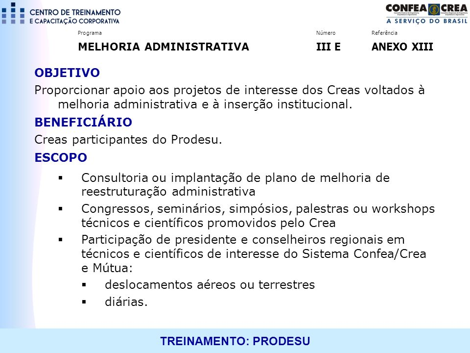 Creas participantes do Prodesu. ESCOPO