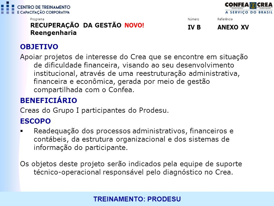Creas do Grupo I participantes do Prodesu. ESCOPO