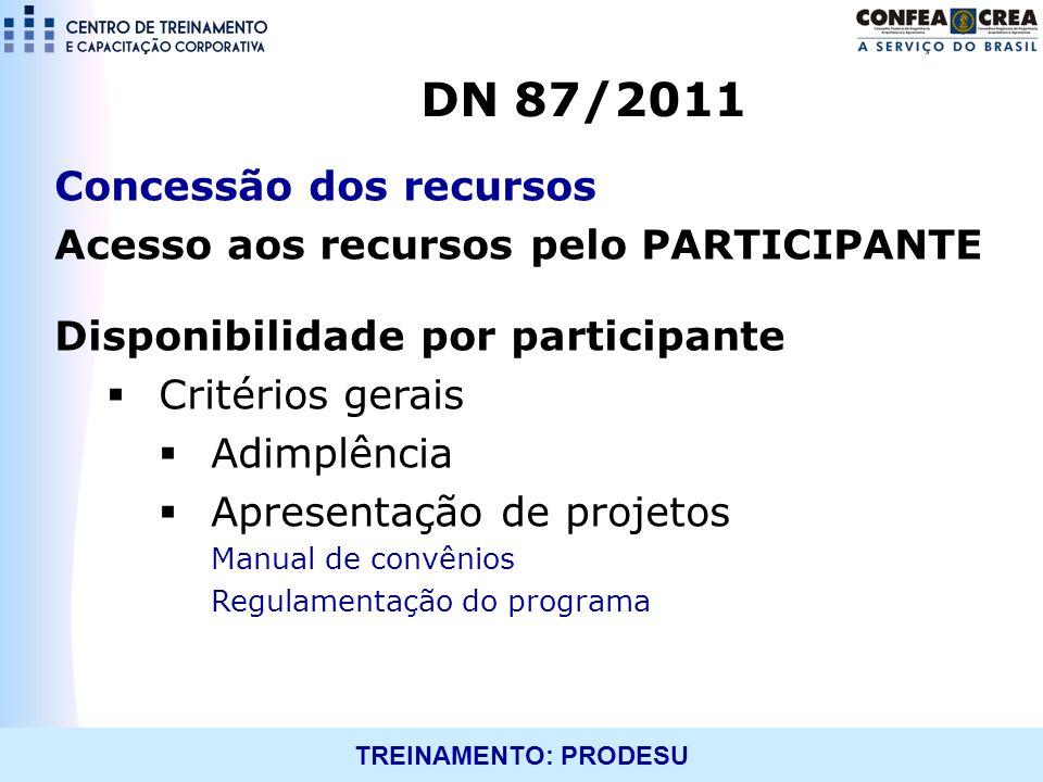 DN 87/2011 Concessão dos recursos
