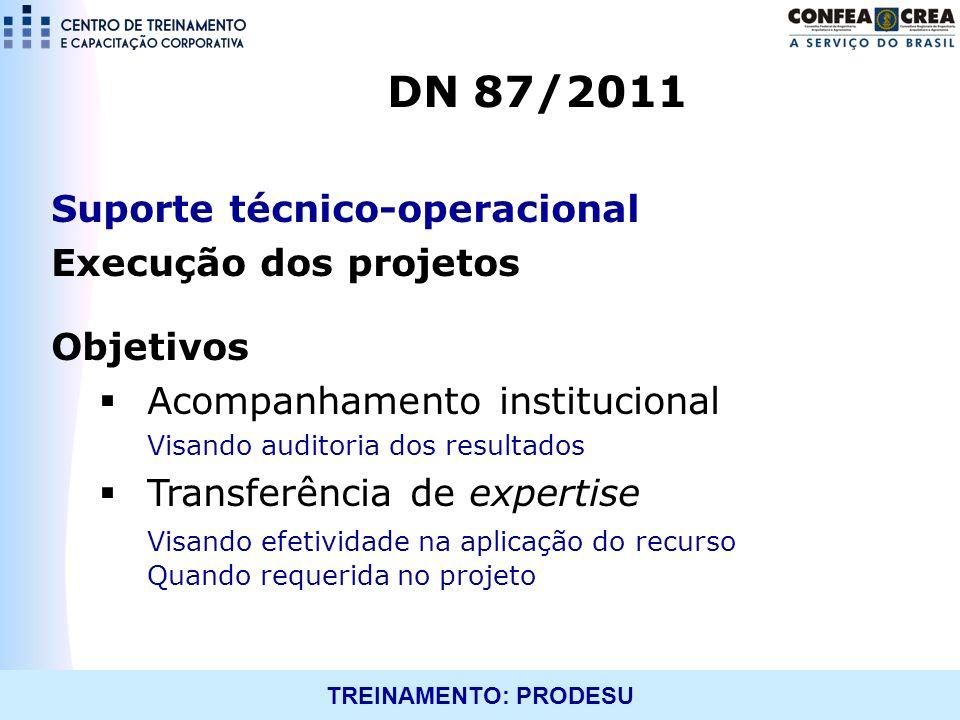 DN 87/2011 Suporte técnico-operacional Execução dos projetos Objetivos