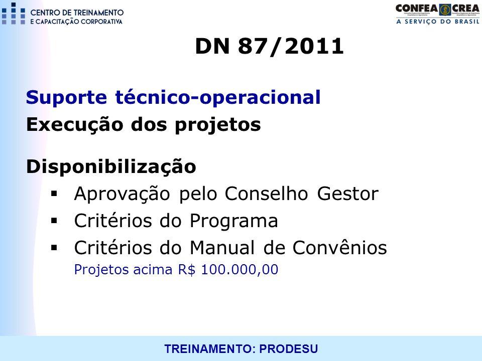 DN 87/2011 Suporte técnico-operacional Execução dos projetos