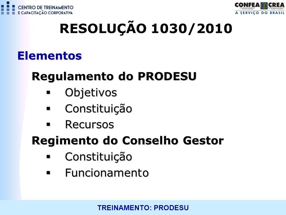 RESOLUÇÃO 1030/2010 Elementos Regulamento do PRODESU Objetivos