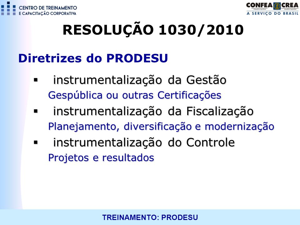 RESOLUÇÃO 1030/2010 Diretrizes do PRODESU instrumentalização da Gestão