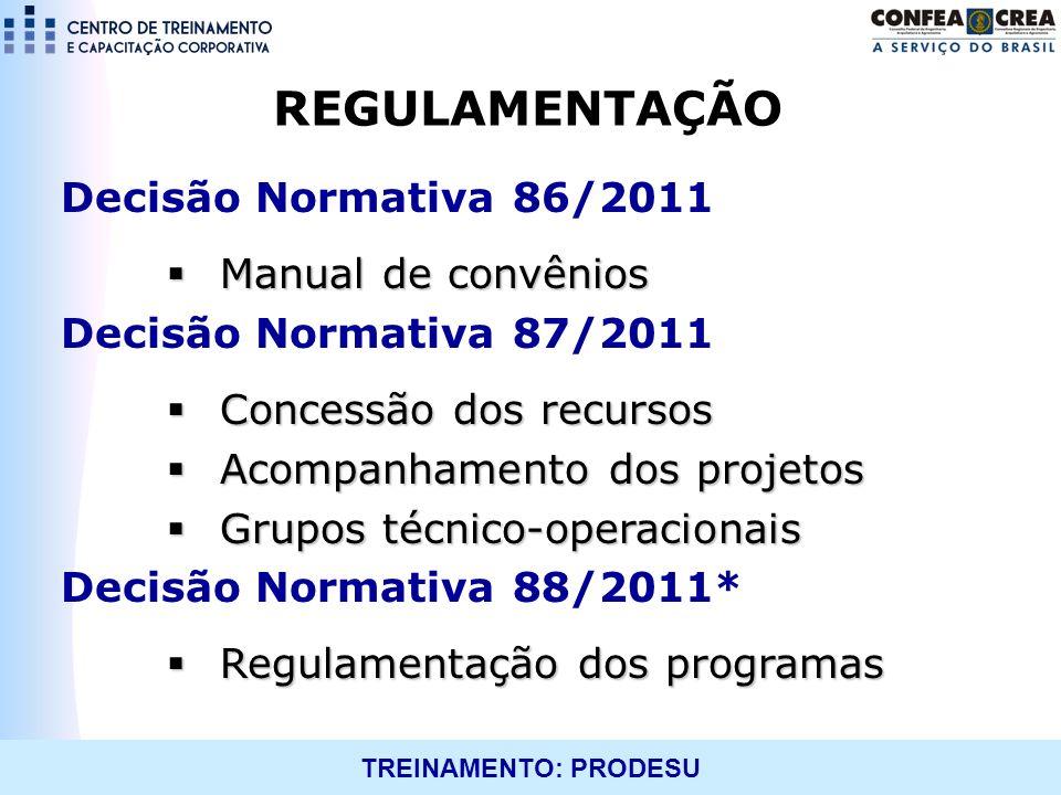 REGULAMENTAÇÃO Decisão Normativa 86/2011 Manual de convênios