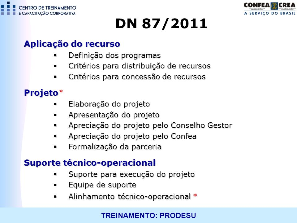 DN 87/2011 Aplicação do recurso Projeto* Suporte técnico-operacional