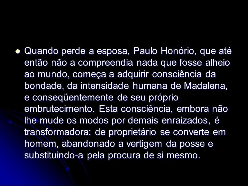 Quando perde a esposa, Paulo Honório, que até então não a compreendia nada que fosse alheio ao mundo, começa a adquirir consciência da bondade, da intensidade humana de Madalena, e conseqüentemente de seu próprio embrutecimento.