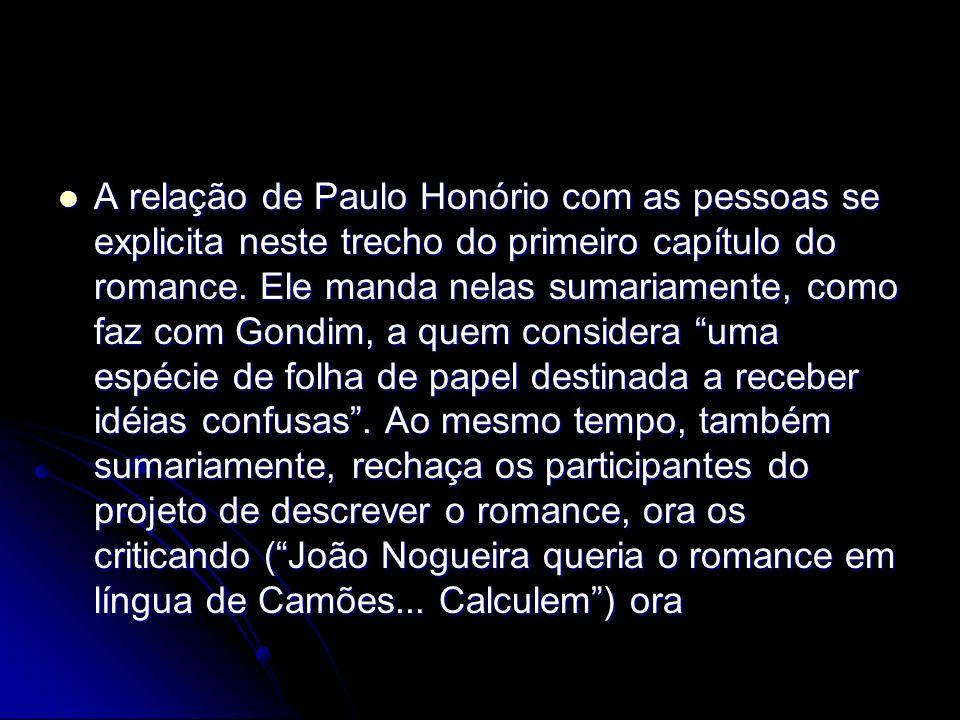 A relação de Paulo Honório com as pessoas se explicita neste trecho do primeiro capítulo do romance.