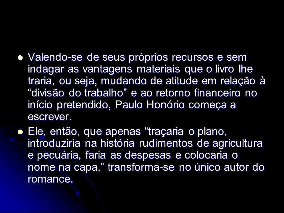 Valendo-se de seus próprios recursos e sem indagar as vantagens materiais que o livro lhe traria, ou seja, mudando de atitude em relação à divisão do trabalho e ao retorno financeiro no início pretendido, Paulo Honório começa a escrever.