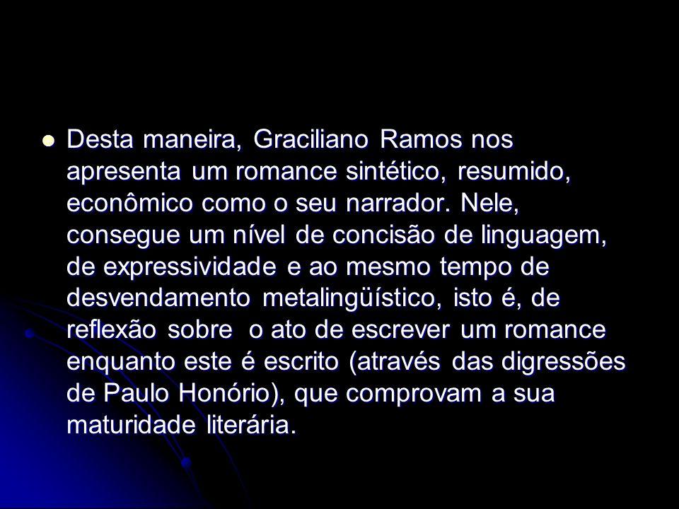 Desta maneira, Graciliano Ramos nos apresenta um romance sintético, resumido, econômico como o seu narrador.