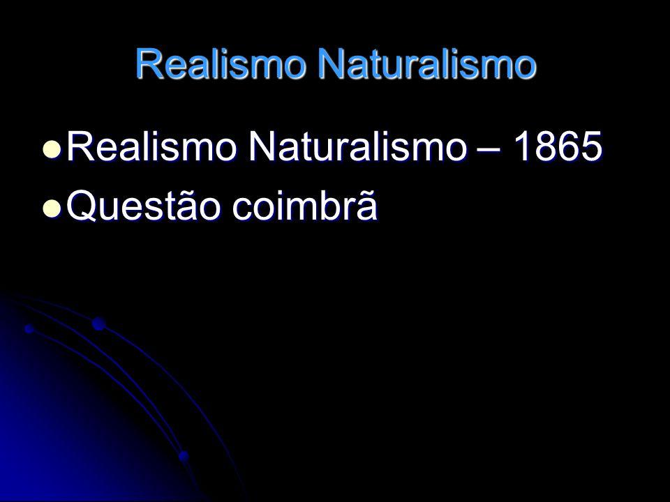 Realismo Naturalismo Realismo Naturalismo – 1865 Questão coimbrã