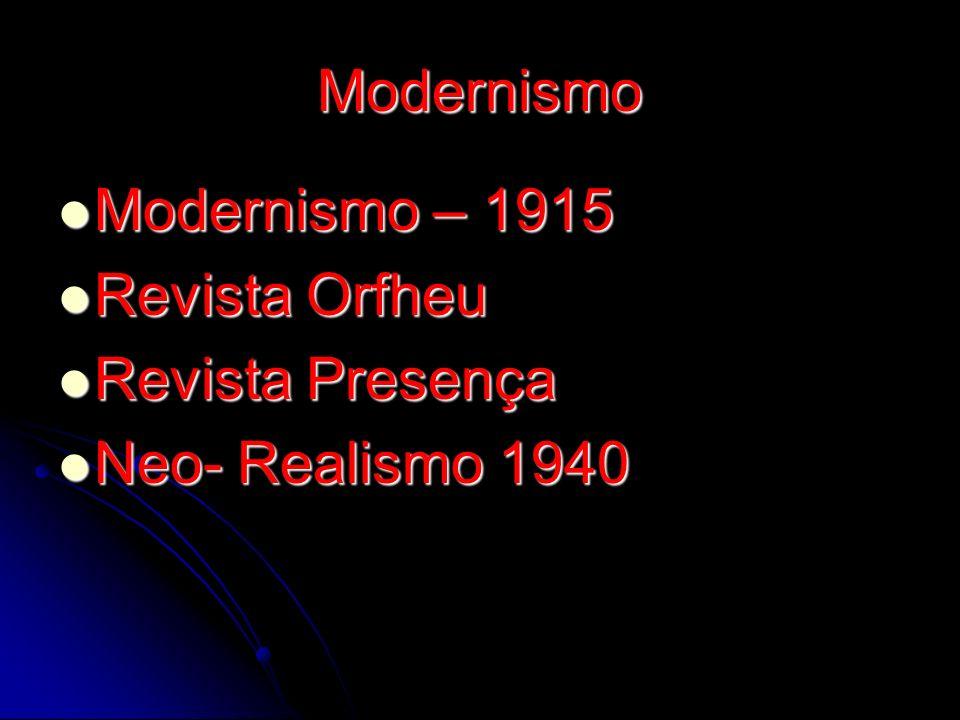 Modernismo Modernismo – 1915 Revista Orfheu Revista Presença Neo- Realismo 1940
