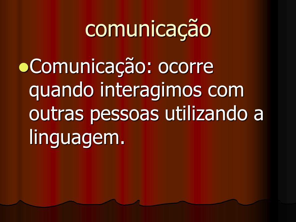 comunicação Comunicação: ocorre quando interagimos com outras pessoas utilizando a linguagem.