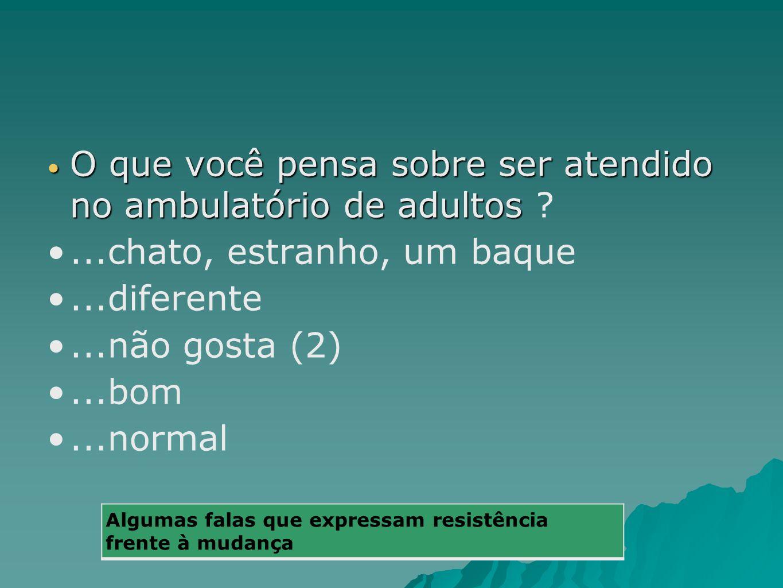 O que você pensa sobre ser atendido no ambulatório de adultos