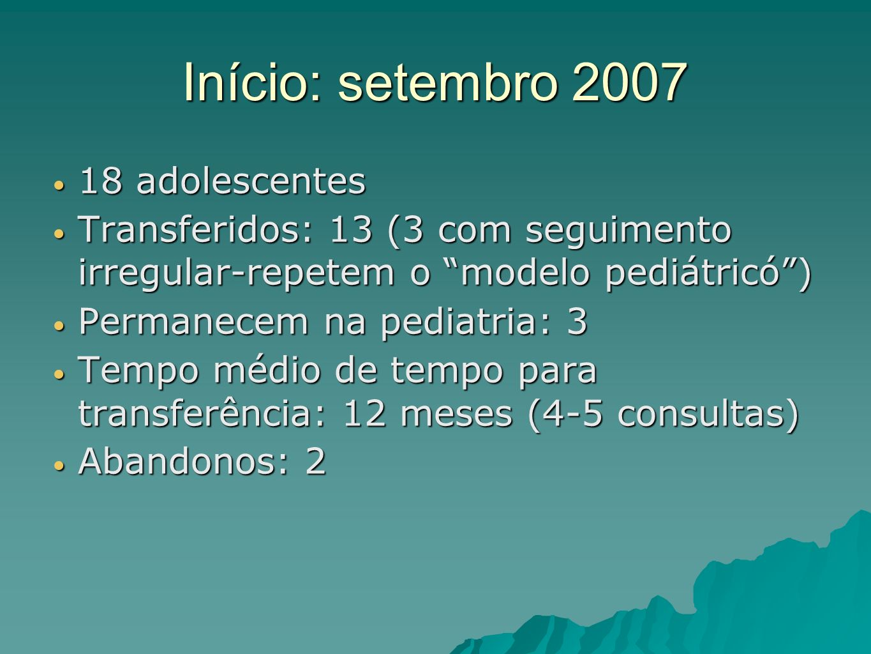 Início: setembro 2007 18 adolescentes