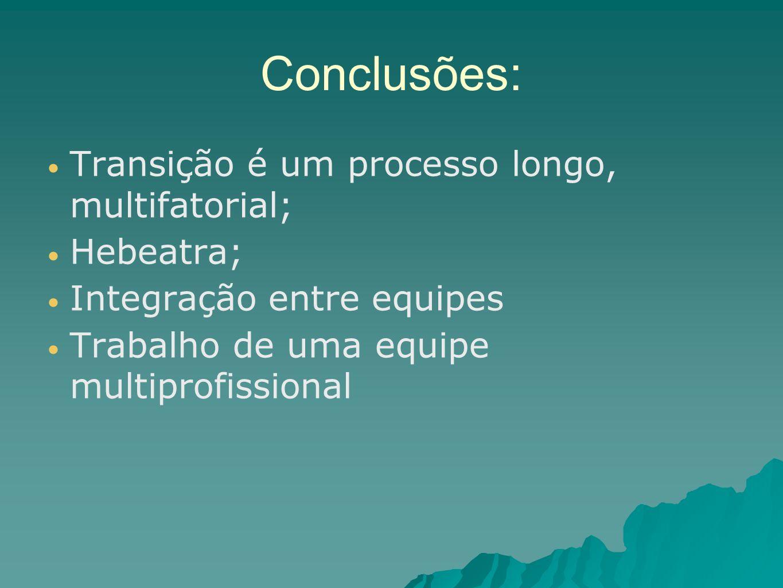 Conclusões: Transição é um processo longo, multifatorial; Hebeatra;