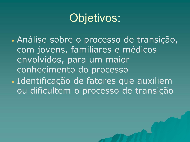 Objetivos: Análise sobre o processo de transição, com jovens, familiares e médicos envolvidos, para um maior conhecimento do processo.