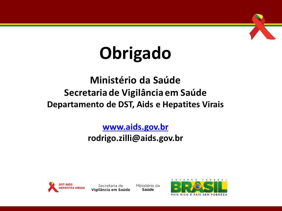 ObrigadoMinistério da Saúde Secretaria de Vigilância em Saúde Departamento de DST, Aids e Hepatites Virais.