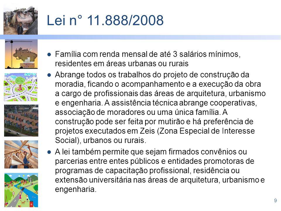 Lei n° 11.888/2008 Família com renda mensal de até 3 salários mínimos, residentes em áreas urbanas ou rurais.