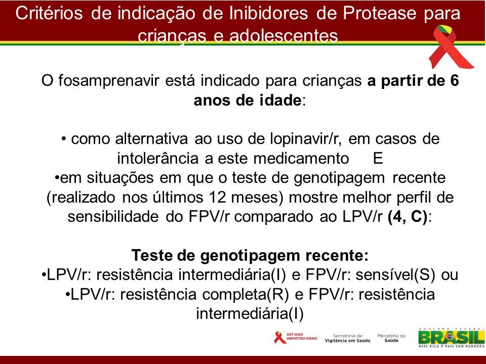 Critérios de indicação de Inibidores de Protease para crianças e adolescentes