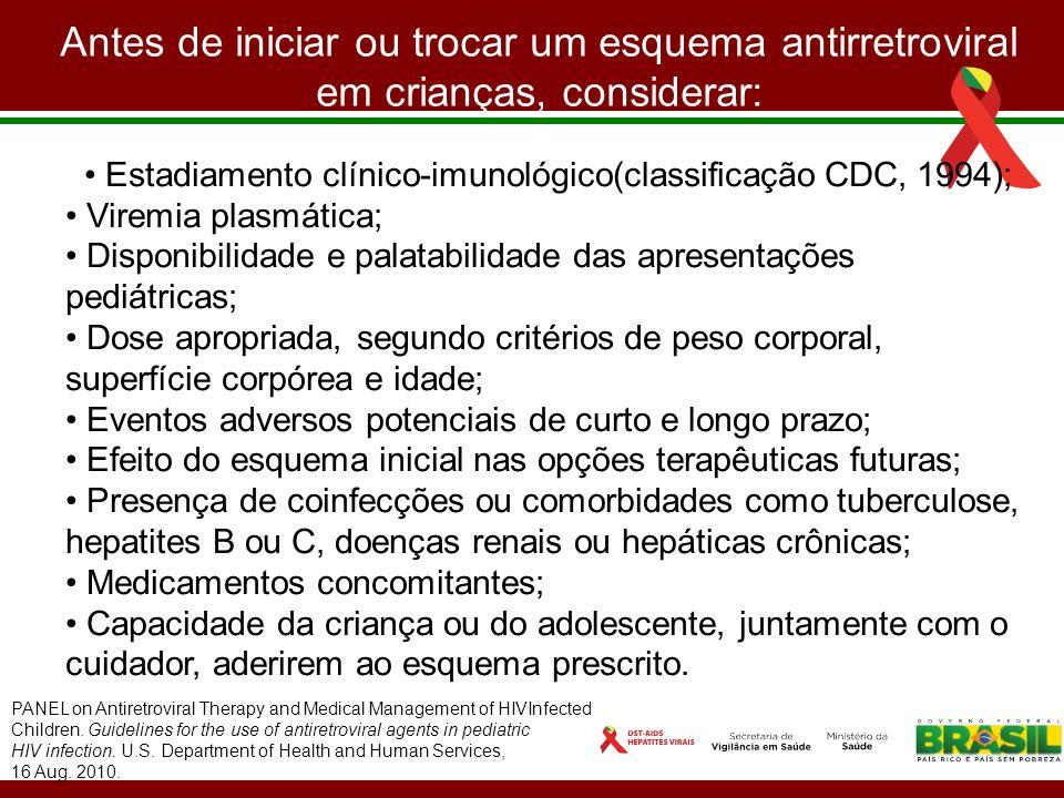 Estadiamento clínico-imunológico(classificação CDC, 1994);