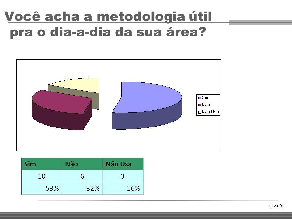 Você acha a metodologia útil pra o dia-a-dia da sua área