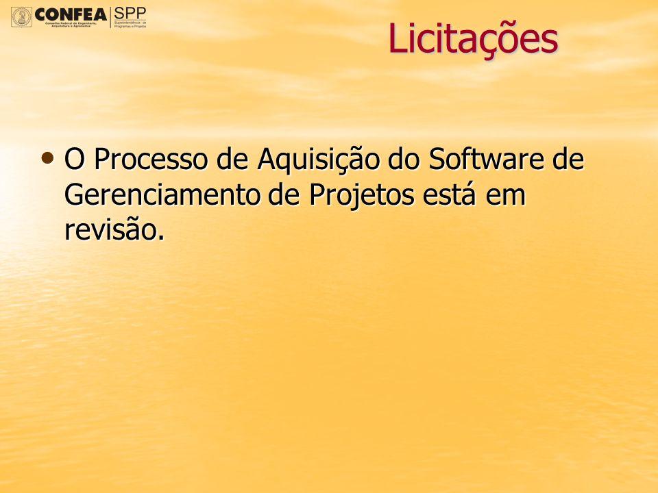 Licitações O Processo de Aquisição do Software de Gerenciamento de Projetos está em revisão.