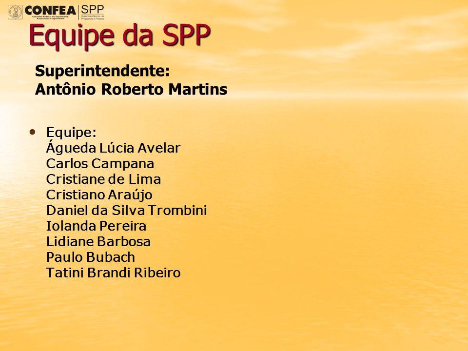Equipe da SPP Superintendente: Antônio Roberto Martins Equipe: