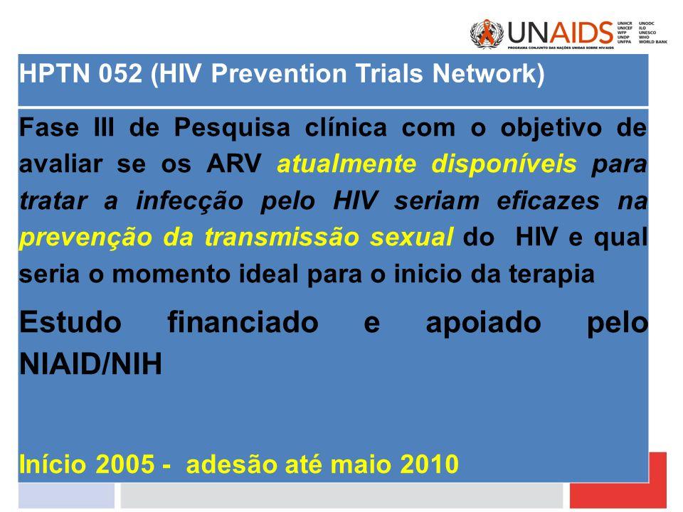 Estudo financiado e apoiado pelo NIAID/NIH