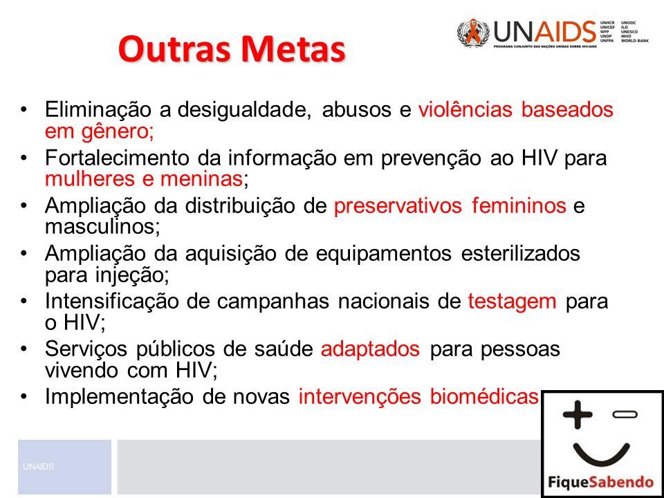 Outras Metas Eliminação a desigualdade, abusos e violências baseados em gênero;