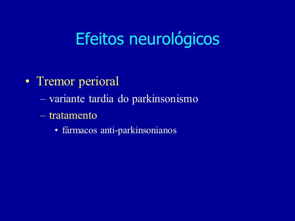 Efeitos neurológicos Tremor perioral variante tardia do parkinsonismo