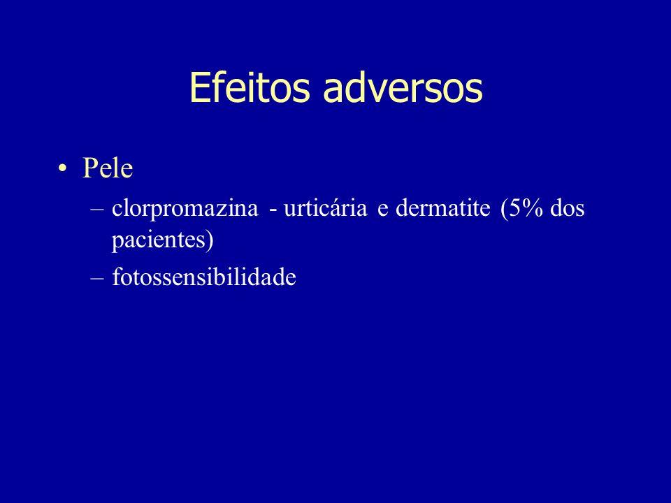 Efeitos adversos Pele clorpromazina - urticária e dermatite (5% dos pacientes) fotossensibilidade