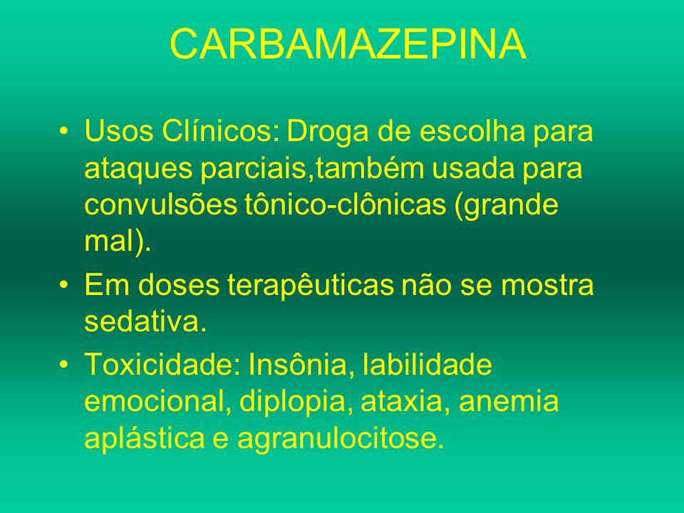 CARBAMAZEPINAUsos Clínicos: Droga de escolha para ataques parciais,também usada para convulsões tônico-clônicas (grande mal).