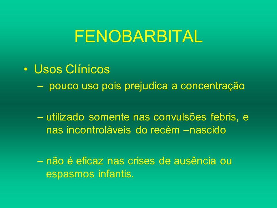 FENOBARBITAL Usos Clínicos pouco uso pois prejudica a concentração