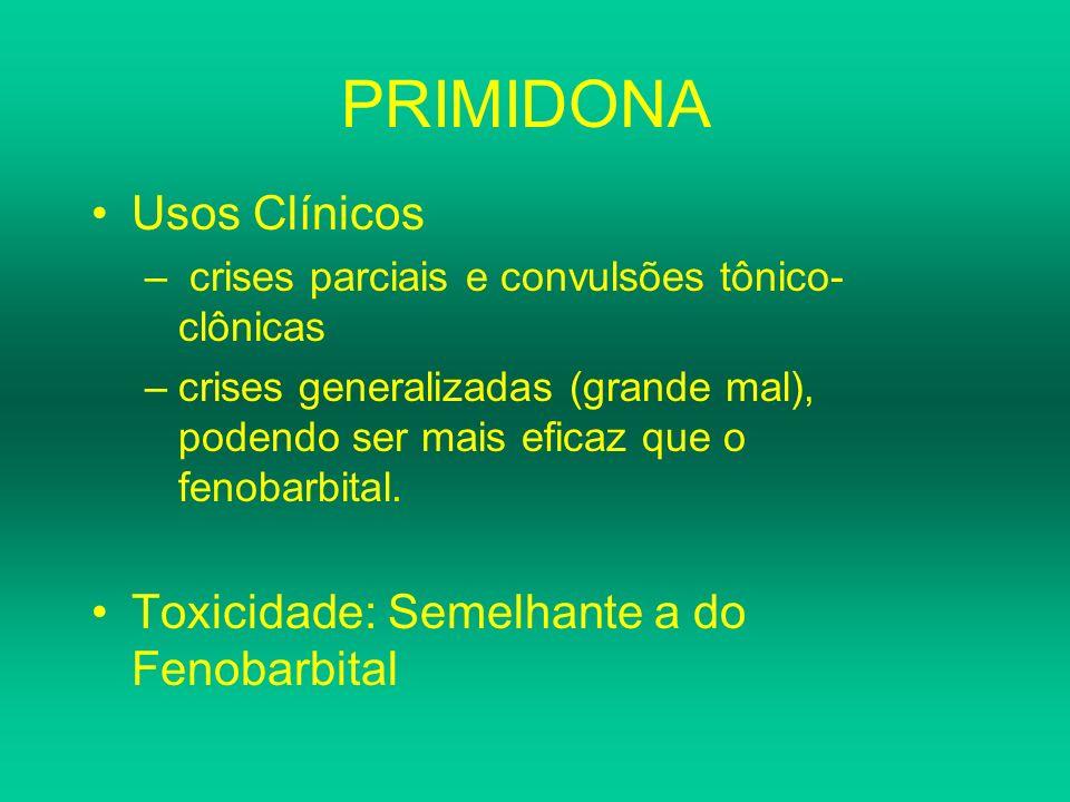 PRIMIDONA Usos Clínicos Toxicidade: Semelhante a do Fenobarbital