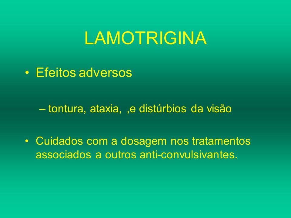 LAMOTRIGINA Efeitos adversos tontura, ataxia, ,e distúrbios da visão