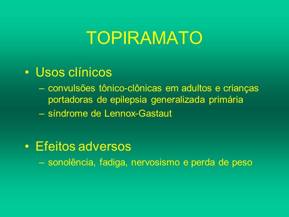 TOPIRAMATO Usos clínicos Efeitos adversos