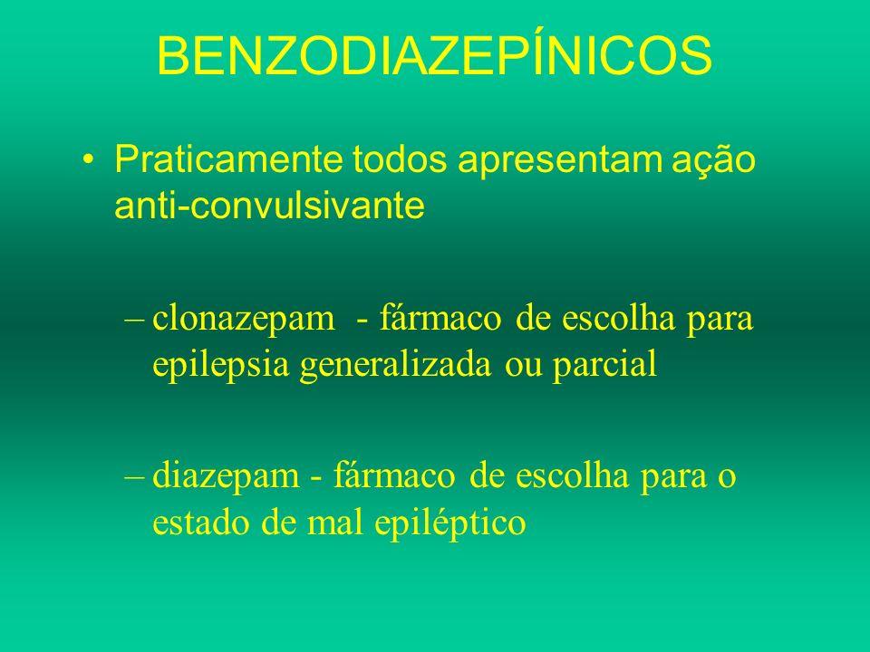 BENZODIAZEPÍNICOS Praticamente todos apresentam ação anti-convulsivante. clonazepam - fármaco de escolha para epilepsia generalizada ou parcial.