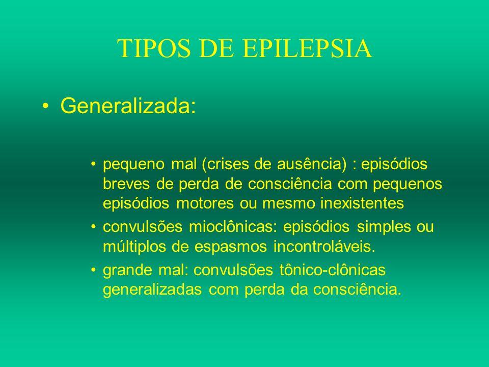 TIPOS DE EPILEPSIA Generalizada: