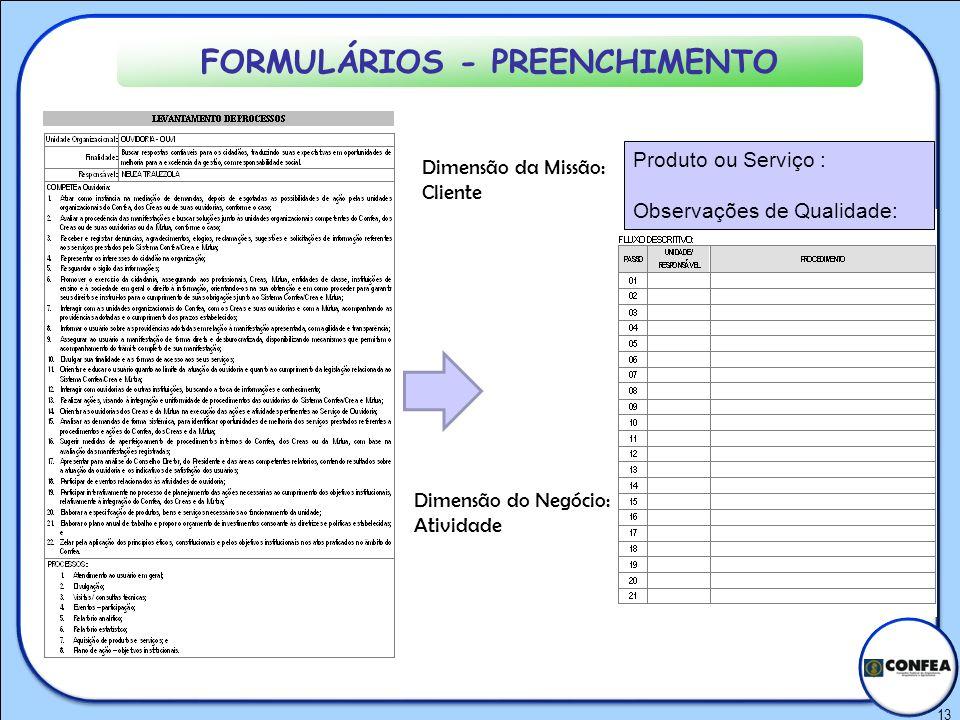 FORMULÁRIOS - PREENCHIMENTO