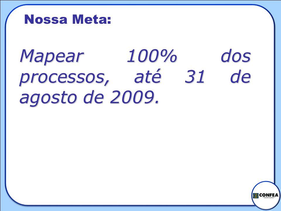 Mapear 100% dos processos, até 31 de agosto de 2009.