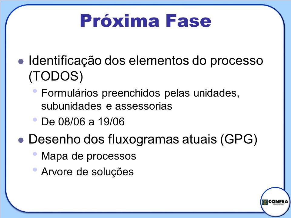 Próxima Fase Identificação dos elementos do processo (TODOS)