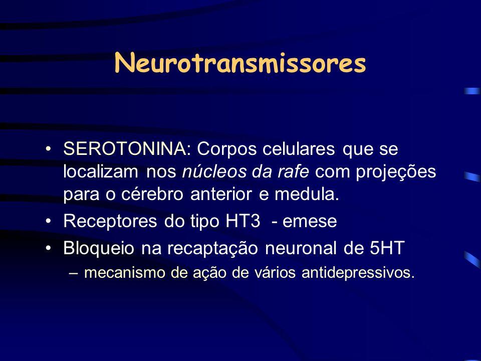NeurotransmissoresSEROTONINA: Corpos celulares que se localizam nos núcleos da rafe com projeções para o cérebro anterior e medula.