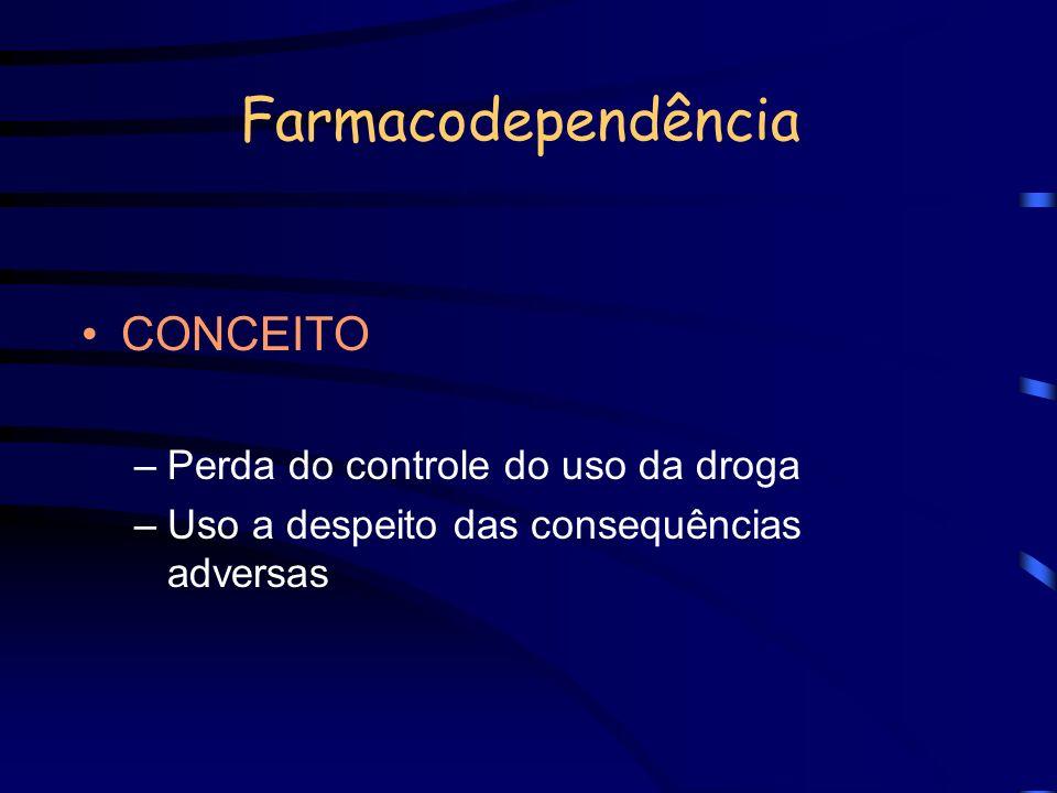 Farmacodependência CONCEITO Perda do controle do uso da droga
