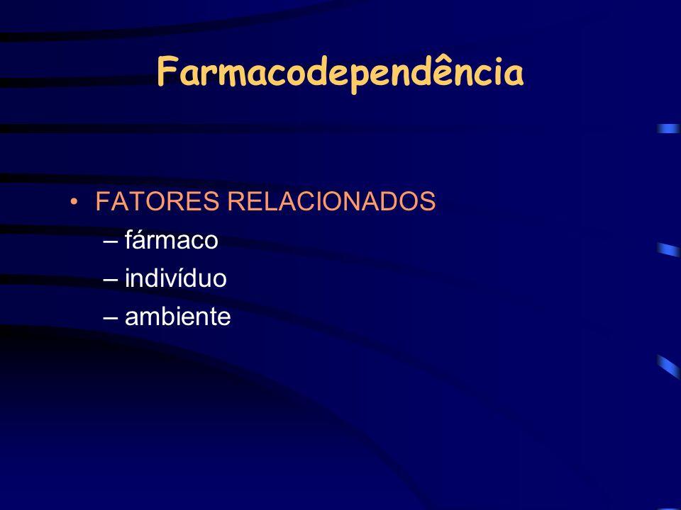 Farmacodependência FATORES RELACIONADOS fármaco indivíduo ambiente