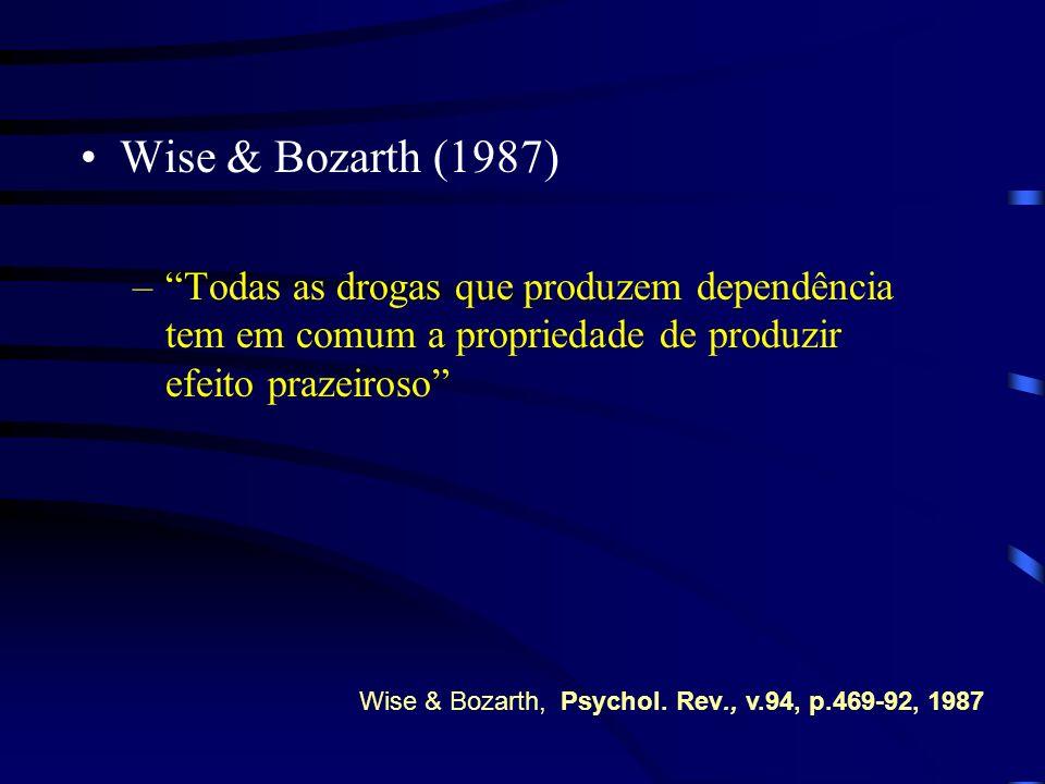 Wise & Bozarth (1987) Todas as drogas que produzem dependência tem em comum a propriedade de produzir efeito prazeiroso