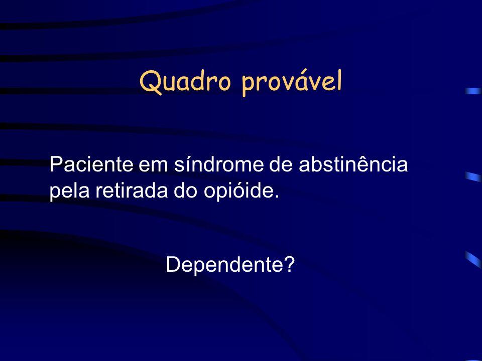 Paciente em síndrome de abstinência pela retirada do opióide.