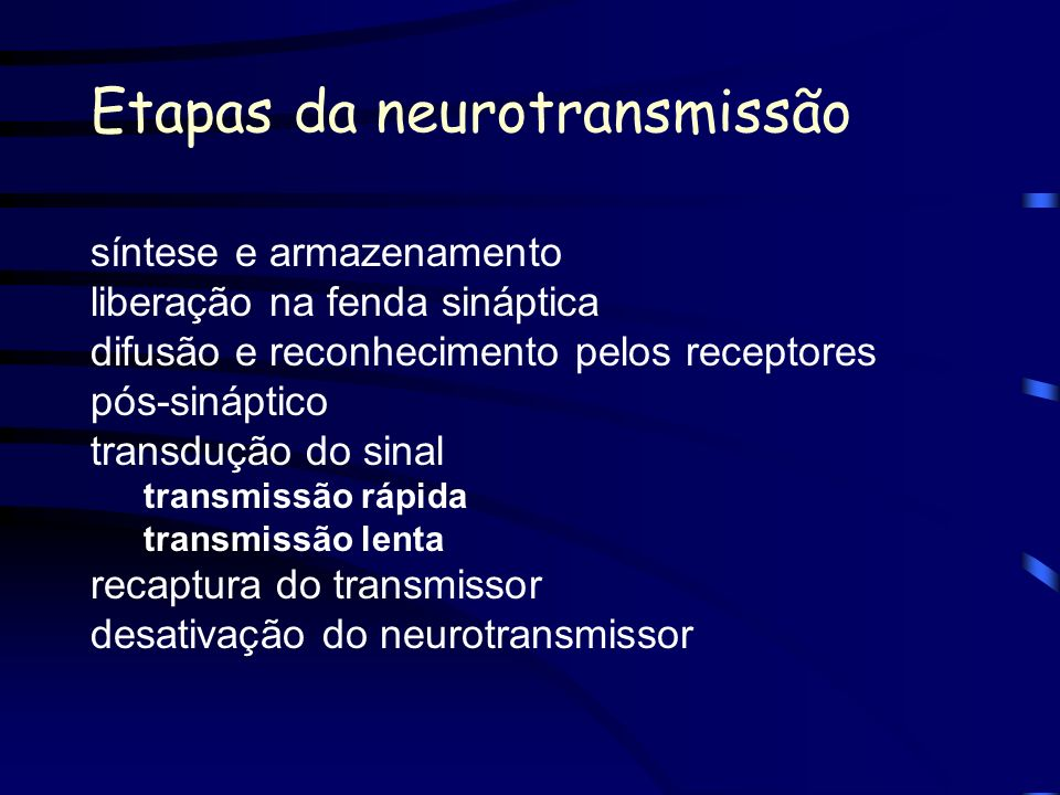 Etapas da neurotransmissão