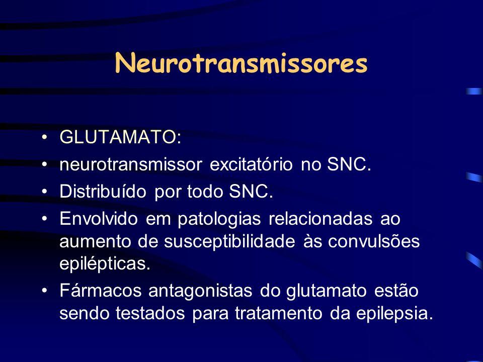 Neurotransmissores GLUTAMATO: neurotransmissor excitatório no SNC.